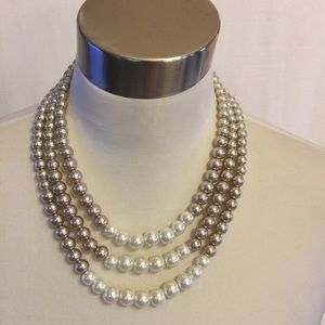 Beige/ White multiple string necklace/ earrings